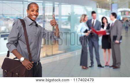 Happy African american businessman.