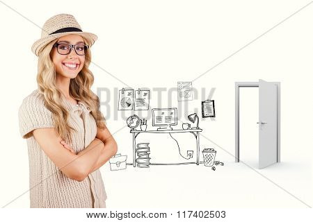 Gorgeous smiling blonde hipster with arms crossed against doodle office with door