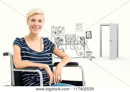 Smiling woman in a wheelchair against doodle office with door