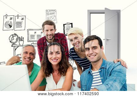 Creative business team using laptop in meeting against doodle office with door