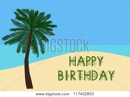 Happy Birthday Greeting In The Sand