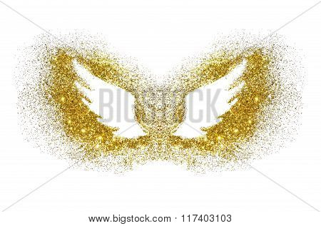 Abstract wings of golden glitter on white background