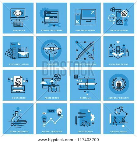 Set of thin line concept icons of different categories of graphic design, website and app design and