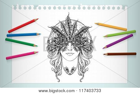 coloring page portrait of girl