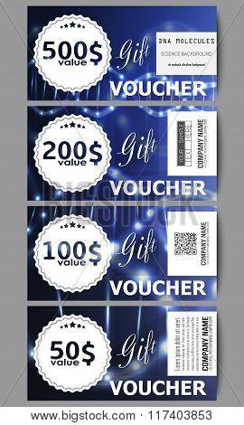 Set of modern gift voucher templates. DNA molecule structure on dark blue background. Science vector