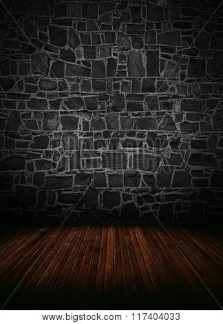 empty interior room with brick wall.