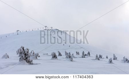 Snow Mountain. Mountains Under Snow In The Winter