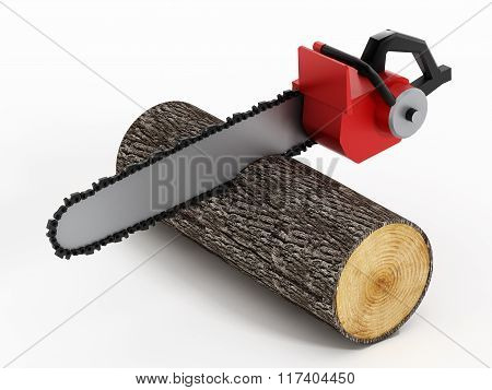 Chainsaw Cutting Timber Log