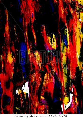 Black And Bold Colored Paint Smeared Thickly