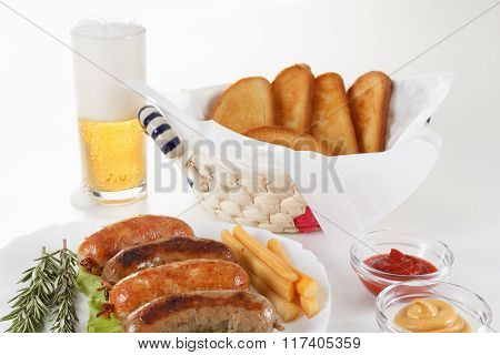 Roast Beef Or Chicken Sausage On A Plate