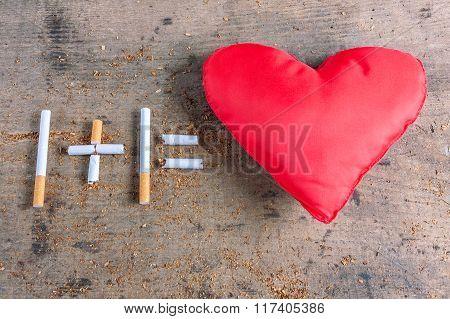 Diseased heart. Antismoking background