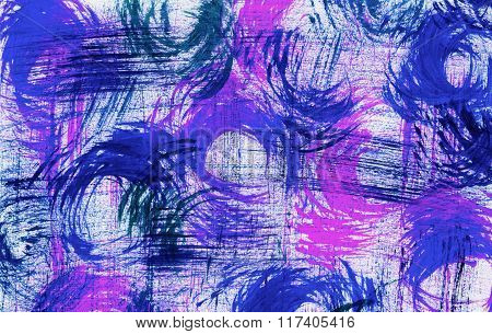 Swirled Brush Marks In Blue And Pink