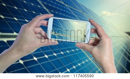 Taking Picture Of Blue Solar Panels