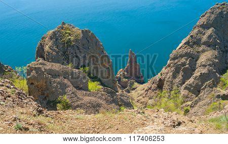 Panoramic landscape on Karadag volcanic mountain range
