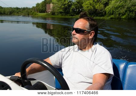 Men Driving Motor Boat