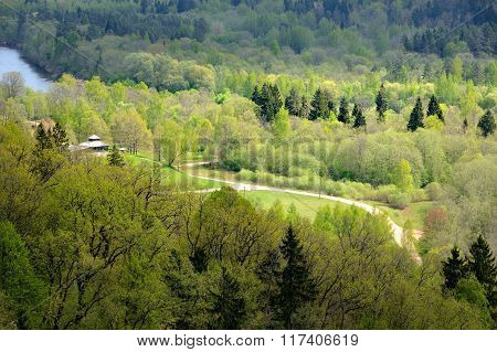 Aerial view of Gauja river valley in spring