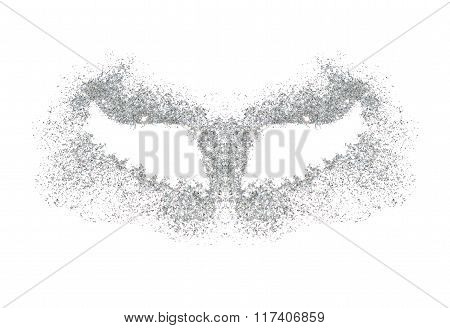 Abstract wings of silver glitter on white background