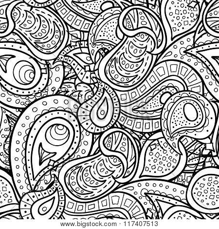 Paisley Doodle Outline Seamless Pattern