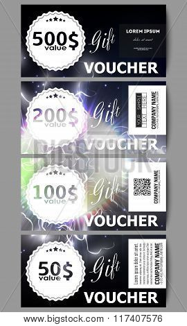 Set of modern gift voucher templates. Electric lighting effect. Magic vector background with lightni