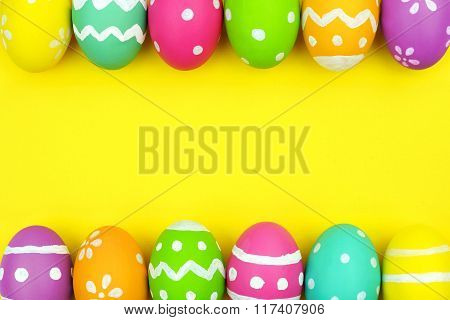 Easter egg double border over yellow paper background