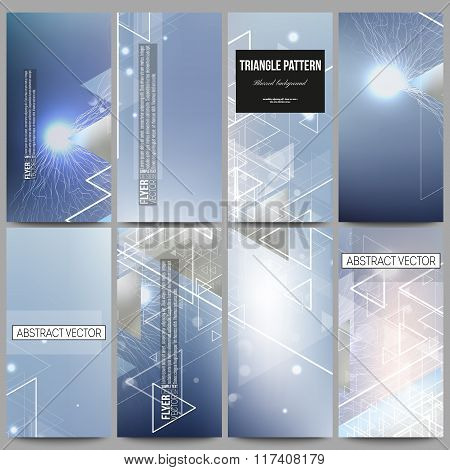 Set of modern vector flyers. Abstract blurred background with triangles, lines and dots.
