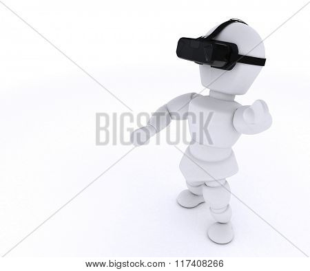 3D Render of Man with VR Headset