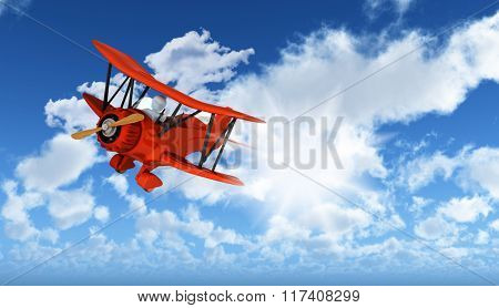 3D figure flying biplane in blue sky background with fluffy white clouds