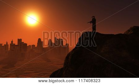 3D render of a soldier on lookout over a city at sunset