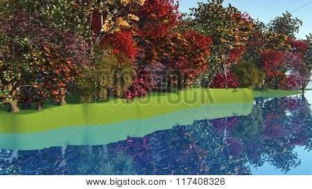 3D render of colourful trees and bushes at a riverside