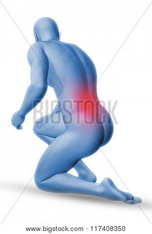 3D blue male medical figure in kneeling position