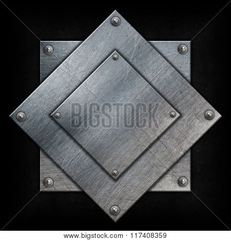 Metal plates with nuts on a grunge background
