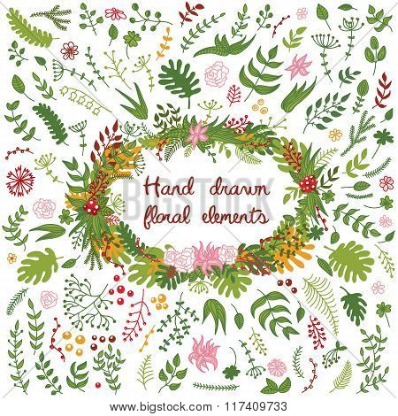 Vector Set Of Hand Drawn Floral Elements - Flowers, Branches, Leaves.