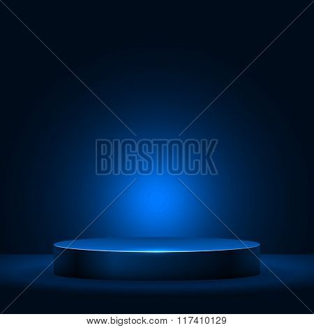Illuminated empty pedestal in the dark vector template.