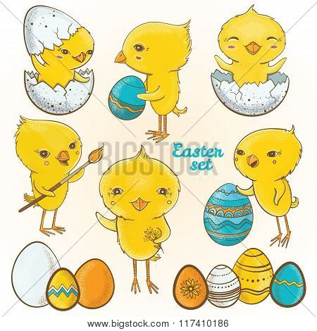 Easter Eggs Chicks. Vector Set