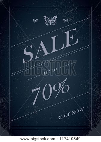 Sales banner on dark background with elegant typography for luxury sales offers in fashion. Vintage