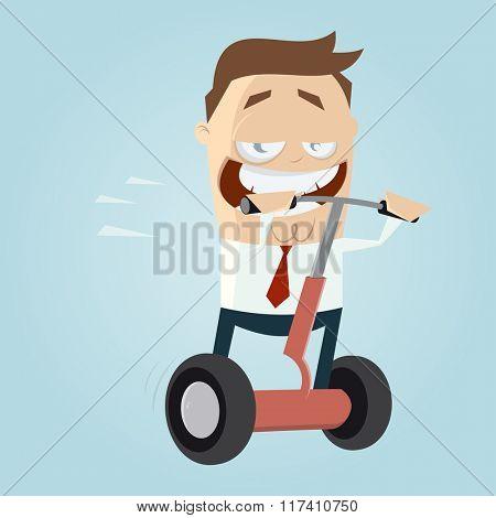 funny cartoon man on roller