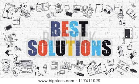 Best Solutions Concept with Doodle Design Icons.