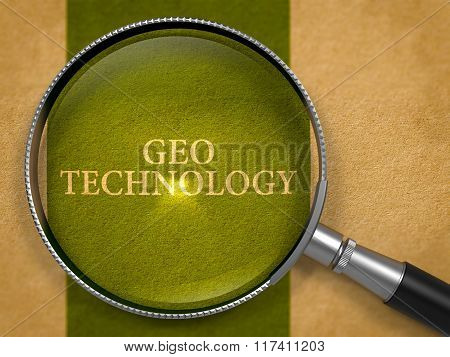 Geo Technology through Loupe on Old Paper.