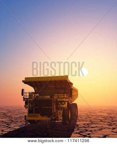 Truck in the desert at sunset.