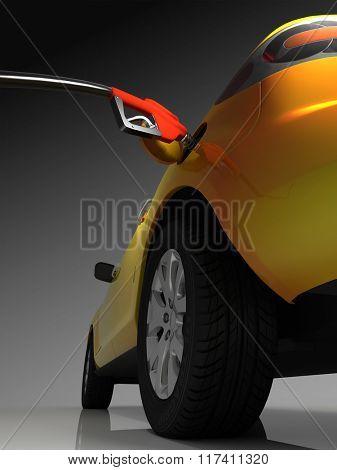Car fueled on a dark background