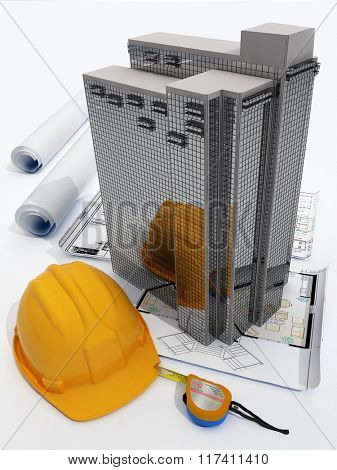 Model skyscraper and drawings on a white background