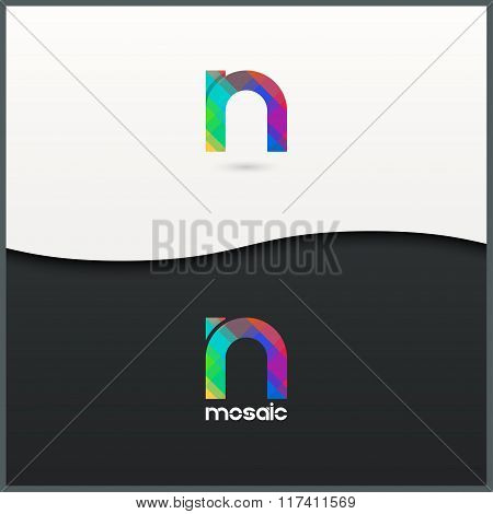 letter N logo alphabet mosaic icon set background
