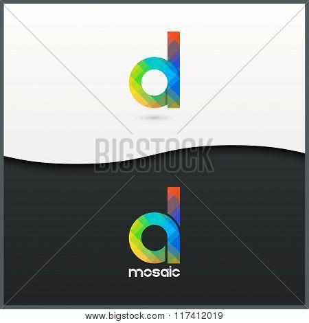letter D logo alphabet mosaic icon set background