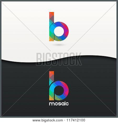 letter B logo alphabet mosaic icon set background