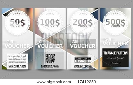 Modern gift voucher templates. Abstract multicolored background of blurred nature landscapes, geomet