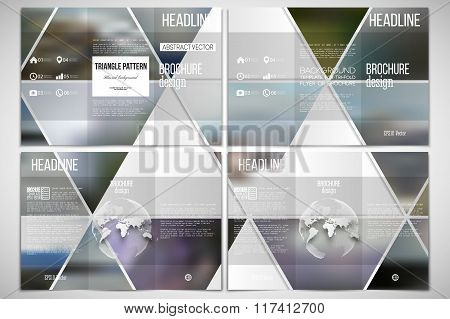 Tri-fold brochure design template on both sides with world globe element. Abstract multicolored back