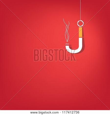 Cigarette fishhook Illustration on white background.