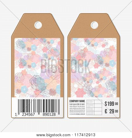 Vector tags design on both sides, cardboard sale labels with barcode. Hand drawn floral doodle patte