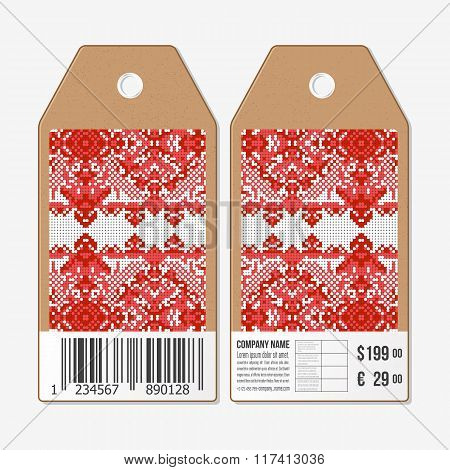 Vector tags design on both sides, cardboard sale labels with barcode. Ukrainian folk art. Traditiona