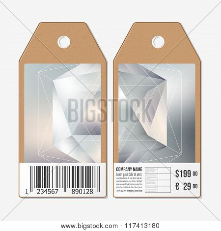 Vector tags design on both sides, cardboard sale labels with barcode. Colorful graphic design, abstr